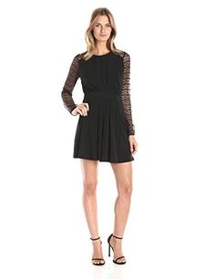 BCBGeneration Womens Fit and Flare Dress with Lace Sleeves Black 4 -- Want additional info? Click on the image.