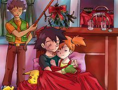 Comm: Christmas Night by Cleopatrawolf.deviantart.com on @deviantART Brock Pokemon, Ash Pokemon, Pokemon Ships, Pokemon Fan, Ash Und Misty, Pokemon Ash And Misty, Pikachu, Fanart, M Anime