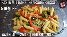 Video-#Rezept: #Pasta mit #Hähnchen-#Sahne-Sauce & Gemüse   #Fitness Rezept