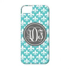 Personalized Monogram Cell Phone Case-Fleur de Lis.