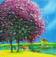 Purple plampoyant trees by Vietnamese Artist Nguyen Minh Son