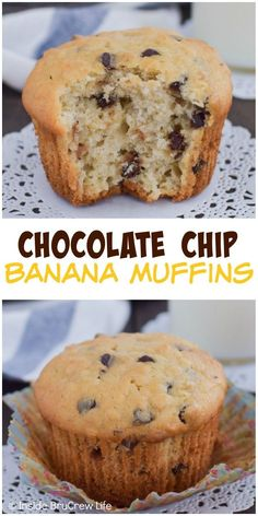 Adding oats and chocolate chips makes these banana muffins a favorite breakfast treat. Just Desserts, Delicious Desserts, Dessert Recipes, Banana Recipes, Muffin Recipes, Banana Chocolate Chip Muffins, Chocolate Chips, Banana Bread Muffins, Homemade Muffins