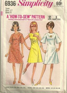 Simplicity 6936 1960s Teen A line Dress Pattern with Princess Seams Bell Sleeves Womens Vintage Sewing Pattern by patterngate.com