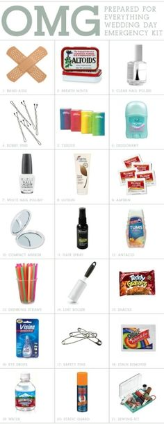 Wedding day survival kit...not only for the bridal party but also great for the guests restroom