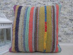 Turkish Colorful Kilim Pillow 18 x 18 Bohemian Pillow Turkish Pillow Vintage Kilim Pillow Aztec Pillow Kilim Lumbar Home Decor Pillow