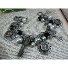 Vintage Chic Antique Silver Cross White Pearl Charm Bracelet