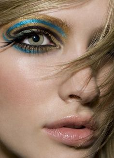 Blue and gold cute make up