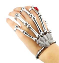 Halloween Silver Punk Rock Skull Hand Bone Bracelet Goth Gem Skeleton Slave Bones Hand Skull Bracelet for Women