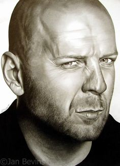 Portrait-of-Bruce-Willis Stunningly And Incredibly Realistic Pencil Portraits Realistic Pencil Drawings, Amazing Drawings, Celebrity Drawings, Celebrity Portraits, Pencil Portrait, Portrait Art, Drawing Portraits, Drawn Art, No Photoshop