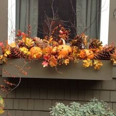 Get your home ready for autumn with these cheap and easy outdoor DIY fall decorations. From fall porch decorating ideas to fall yard decor, there are plenty of DIY outdoor fall decor ideas on a budget to choose from. Fall Yard Decor, Fall Home Decor, Fall Decorations, Halloween Decorations, Fall Window Boxes, Window Box Flowers, Fall Flower Boxes, Fall Flowers, Fall Planters