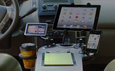 Set Up A Mobile Office And Desk In Your Car. A bit overkill for my needs but still really cool Car Office, Office Set, Toyota Tacoma, Radios, Van Organization, Organizing, Nissan, Home Health Nurse, Mobile Office