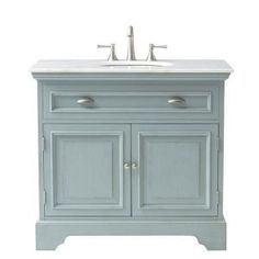 Main level bathroom- Home Decorators Collection Sadie 38 in. W Bath Vanity in Antique Light Cyan with Natural Marble Vanity Top in - The Home Depot Granite Vanity Tops, Marble Vanity Tops, Marble Top, White Marble, White Sink, Powder Room Vanity, Powder Rooms, Bathroom Vanity Cabinets, Home Depot Bathroom Vanity