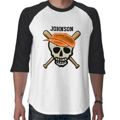 "The Skeleton League - Punkin Innies - Baseball Shirt - With the World Series encroaching far into October, it was only a matter of time before a new breed of players enter the game. The Skeleton League is ready for their debut on the field. Vote for your fav team w/ your purchase of fan gear for either the ""Hollow Weenies"" or the ""Punkin Innies""! Customize name above logo. Sold only at www.zazzle.com/icondoit/halloween+gifts?rf=238155573613991097"