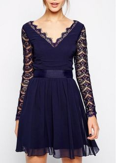 Enchanting Hollow Design Long Sleeve Mini Dress Navy