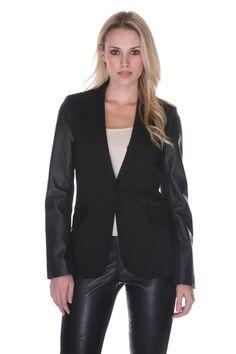 https://www.cityblis.com/11164/item/8779 | MTJ011 - $219 by MY TRIBE | Black Leather Blather | #Blazers