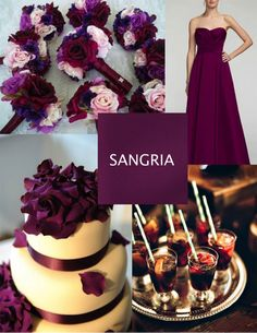 Sangría De los colores más elegantes, el sangría o bungurdy se complementa mejor con un tono nude o rosa palo, llévalo en tus damas de honor y en tu ramo usando ranúnculos clemátide o rosas.