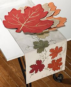 Look at this Falling Leaf Faux Silk Table Runner on today! - - Look at this Falling Leaf Faux Silk Table Runner on today! Table Runner And Placemats, Table Runner Pattern, Quilted Table Runners, Tablecloth Ideas, Fall Crafts, Diy And Crafts, Advanced Embroidery, Burlap Runners, Leaf Template