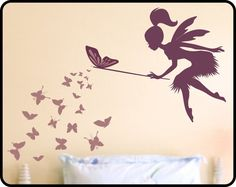 FAIRY Wall Decal w/ Butterfly Wand Vinyl Wall Decal by redeyesign, $35.00 -- Little girls room idea