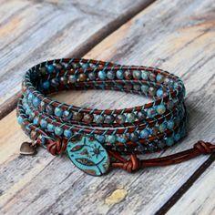 Wrap Bracelet, Turquoise Wrap Bracelet, Boho Wrap Bracelet, Bracelet Wrap, Wrap Bracelets, Lace Agate Faceted Gemstones, Turquoise & Brown by bluefishBohemian on Etsy