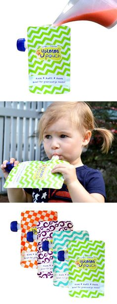 Yummi Pouch Brights reusable food pouches for smoothies, blended snacks, and homemade baby food