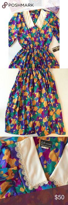Vintage Watercolor Floral Lace Collar Midi Dress Dead stock (NWT), in excellent vintage condition. Vintage Dresses Midi