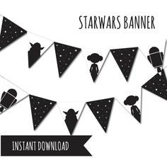 Star Wars Bunting Banner Monochrome Banner by Petitestarsandclouds