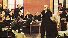 """Professor Jean-Martin Charcot of Paris Salpêtrière demonstrates hypnosis on a """"hysterical"""" patient."""