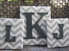 Gray chevron 3 piece Monogram set by spellitwithstyle on Etsy