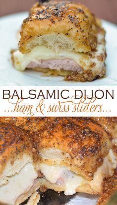 Balsamic Dijon Ham and Swiss Sliders Ham And Swiss Sliders, Ham Sliders, Slider Sandwiches, Appetizer Sandwiches, Appetizer Recipes, Dinner Recipes, Steak Sandwiches, Cold Sandwiches, Party Sandwiches