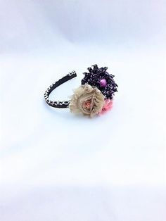 Floral Headband, Black and White, Valentine Headband Fabric Flower Headbands, Fabric Flowers, Custom Headbands, Gothic Glam, Valentines Mugs, Ribbon Wrap, Floral Headpiece, Decorated Jars, Fall Accessories