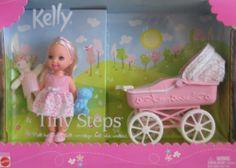 """Barbie KELLY Tiny Steps Doll & Carriage w """"Walking"""" Kelly Doll by Mattel. Kelly Tiny Steps is a 2002 Mattel production set. Mattel Barbie, Barbie Bebe, Barbie Kids, Barbie Kelly, Barbie Family, Barbie Stuff, Vintage Barbie, Vintage Toys, Barbie Sisters"""