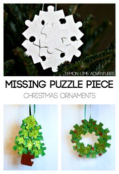 Puzzle Ornaments Inspired by The Missing Piece by Shel Silverstein. Love these simple kid-made ornaments with upcycled materials.