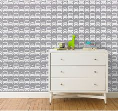 Cars Dove Wallpaper  Inspired by the city streets, this graphic ode to the urban landscape maintains a sophisticated appeal in the nursery or children's room with its neutral palette of greys and whites.