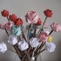 roses bouquet on natural stick origami roses you pick the colour  £24.00