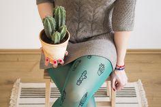 Cactus Tights  http://pokoloko.sk/ #pokoloko #tights #screenprinting #cactus #cactuslover #cacti #green #drawing #handmade #shop
