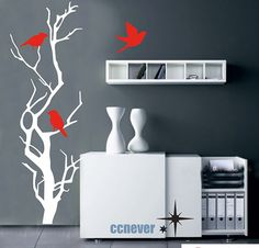 48inch abstract tree birds---Removable Graphic Art wall decals stickers home decor sur Etsy, $38.10 CAD