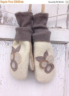 40% OFF FLASH SALE Felted Wool Mittens Garden by whimsiedots