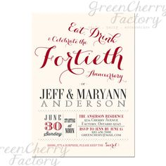 40th Wedding Anniversary Invitation - Ruby Red - Couple Wedding Anniversary Printable Invites - No.524