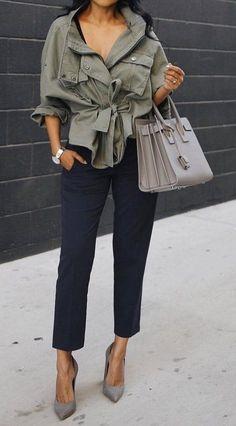 Army Jacket + Blue Pants + Grey Pumps & Bag                                                                             Source