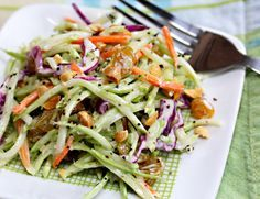 Recipe for broccoli slaw salad with honey-mustard yogurt dressing from The Perfect Pantry (Yum!)