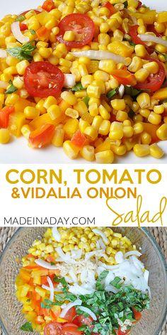 Corn Tomato Salad with Vidalia Onions! Corn Tomato Salad with Onions, … - Corn Chowder Corn Tomato Salad, Fresh Corn Salad, Mushroom Salad, Onion Salad, Bbq Salads, Corn Salads, Easy Salads, Summer Salads, Healthy Salads