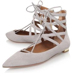 Aquazzura Grey Suede Belgravia Flats ($560) ❤ liked on Polyvore featuring shoes, flats, pointy-toe flats, suede flats, suede pointed toe flats, flat pointed-toe shoes and suede shoes