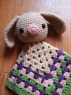 Baby Bunny Rabbit Crochet Security Blanket Lovie by HamAndEggs, $15.00