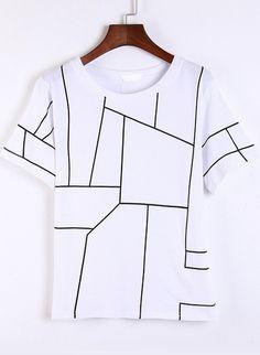 White Short Sleeve Geometric Print T-Shirt