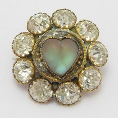 EARLY HEART SHAPED SAPHIRET VICTORIAN BROOCH