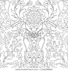 Traditional Arabic Ornament Seamless Your Design Stok Vektör (Telifsiz) 1226290864 Gold Embroidery, Embroidery Designs, Coloring Books, Coloring Pages, Tie Dye Crafts, Persian Pattern, Iranian Art, Flower Ornaments, Turkish Tiles