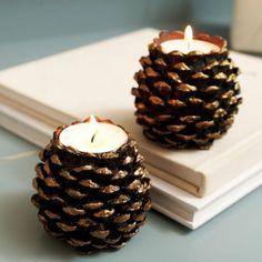 diy deco noel bougeoirs originaux avec petites bougies blanches laqués avec vernis transparent