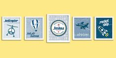 Set of 5 Retro Aviation Posters  Digital  by Silver Lining Printing on Etsy