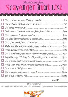 Hens / Bachelorette Night Party Night Scavenger Hunt Game