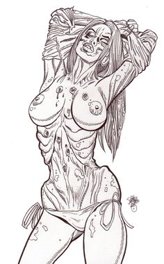 Zombie Pinup Diva #170 : More Bare Breasted Zombie Babes!